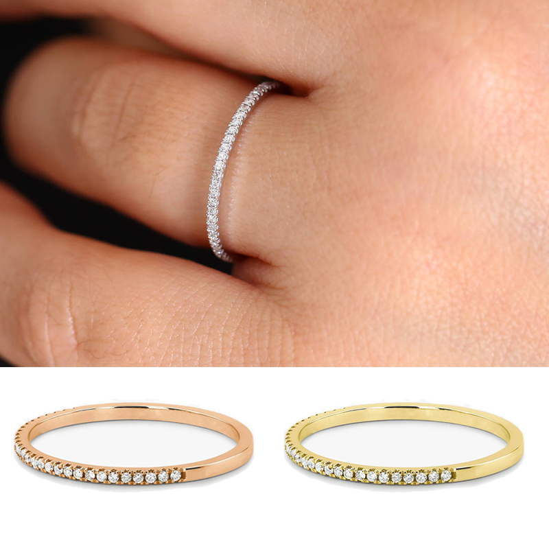 Engagement Rings Zircon-Stone Wedding-Jewelry Crystal Promise Boho Gold-Color Female