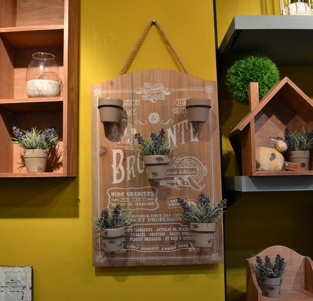 Good Zakka Grocery Retro Wood With Wrought Iron Home Decor Mural Wall Storage  Rack Fashion Creative Small