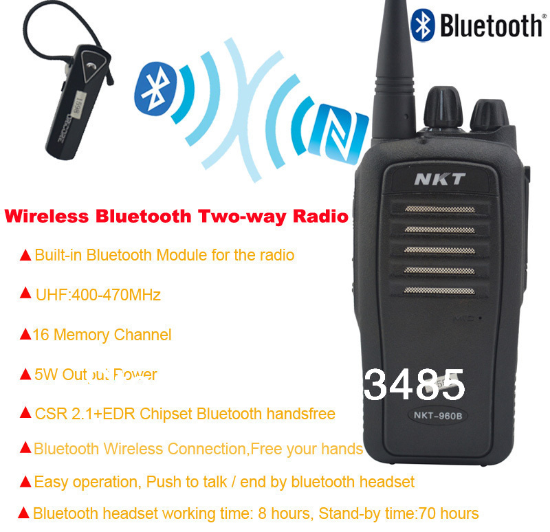 US $140 0 |Bluetooth Walkie Talkie UHF 400 470MHz 16CH 4W Built in  Bluetooth module Portable Two way radio with Wireless Bluetooth headset-in  Walkie
