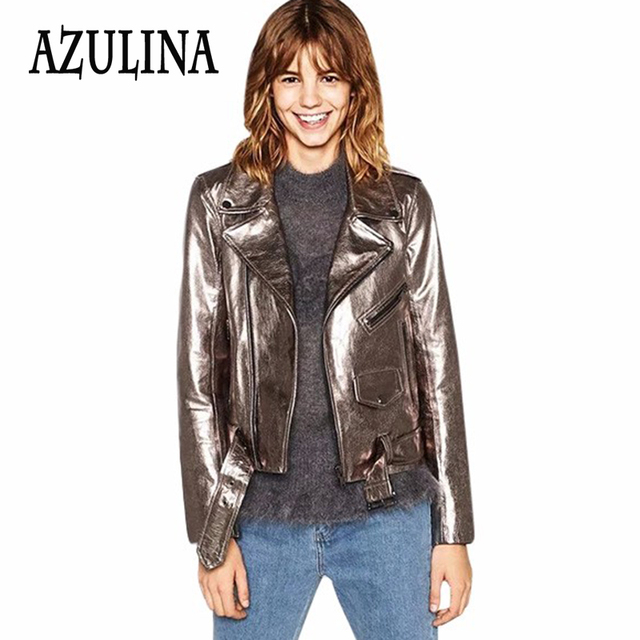 AZULINA Faux PU Leather Jacket Women Black Zipper Pocket Female Casual Femme Spring 2017 Biker Motorcycle Short Jacket