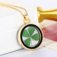 Dried Flower Clover Floating Locket Memory Living Pendant Necklace Jewelry Real Plant Flower Necklace(China)