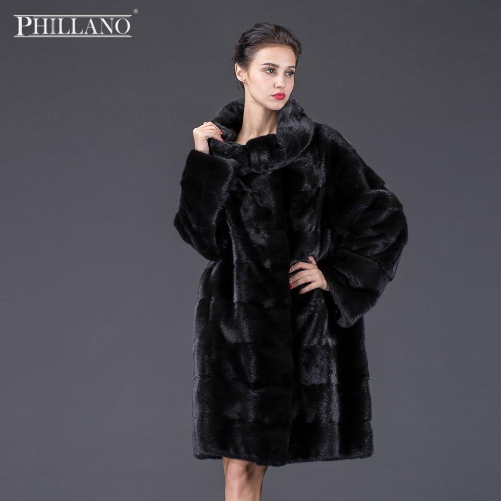 Vente Phillano automne hiver épais manteau de fourrure grand col femmes réel vison manteau de fourrure scandinavie danemark NAFA YG14015-90