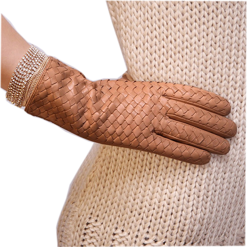 2018 New Sale Women Gloves Fashion Weaving Suede Genuine Leather Winter Glove Warm Wrist Solid Sheepskin