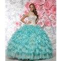 Custom Made vestido de Debutante Vestido de Champagne & Azul Oraganza Cristal Beading Ruffles Lace Vestido De Baile Quinceanera Vestido Vestidos De Fiesta
