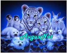 animals diy 5d diamond painting tiger diamond embroidery bear diamant rhinestone picture rabbit oil paint by number canvas decor(China)