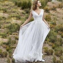 New Arrival Chiffon Beach Wedding Dress Boho Backless Appliques Lace Bridal Gowns vestido de novia Bohemia V Neck Bride