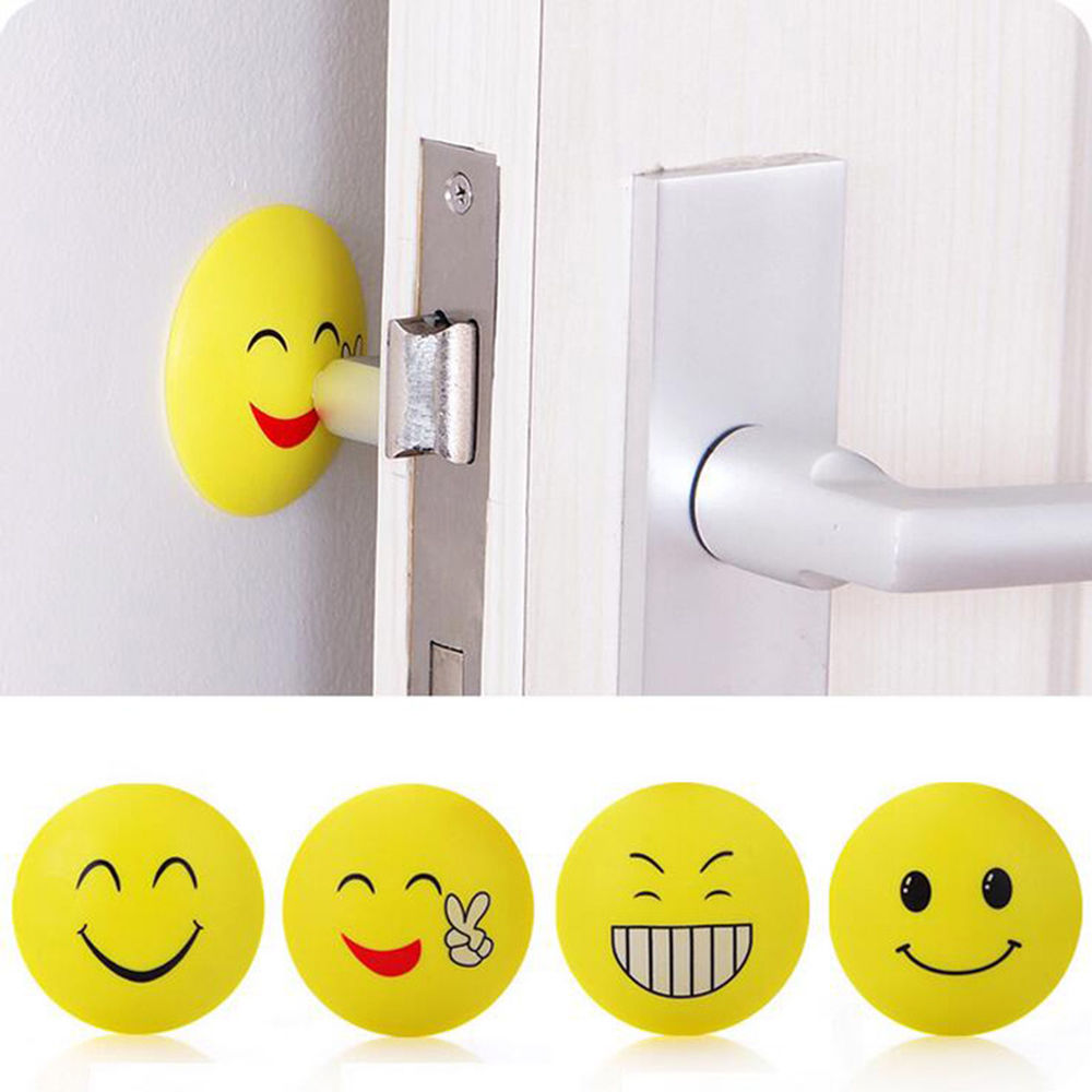 Wall Stickers 3D Rubber Door Handle Knob Emoji Crash Pad Wall Protector Self Adhesive Bu ...