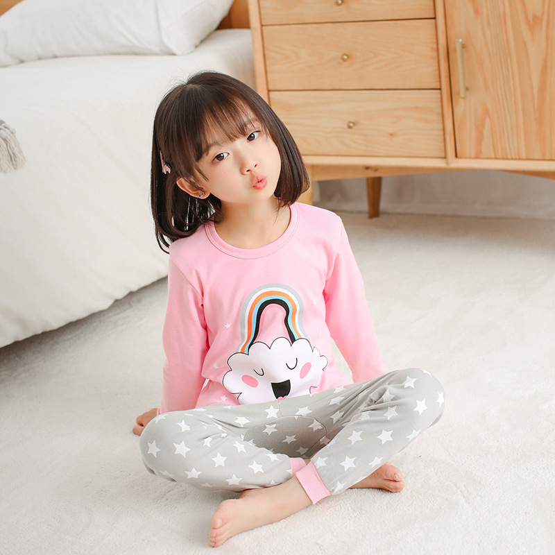 Winter Boys Girls Pajamas Sleepwear Pyjamas Kids Cotton Cartoon Nightwear Pijamas Baby Girls Clothes Top+Pant 2pcs Sleep Suits