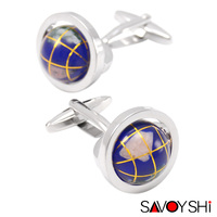 Tellurion Cufflinks For Mens High Quality Brand Enamel Moving Globe Modeling Cuff Links SAVOYSHI Jewelry 2016