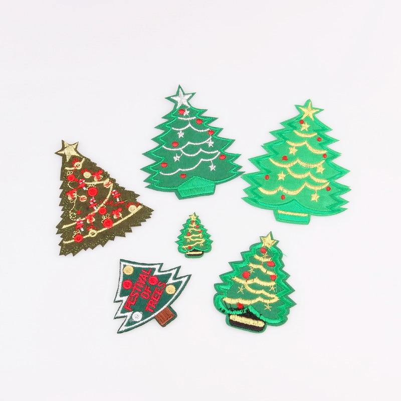 unids moda rbol de navidad parche para la ropa de hierro bordado apliques de coser