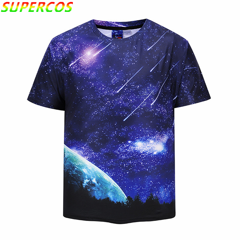 Free Shipping! Newest Good Quality Summer Cool Starry Sky Meteor Shower Artistic 3D Print Comfortable Short Sleeve T-shirt