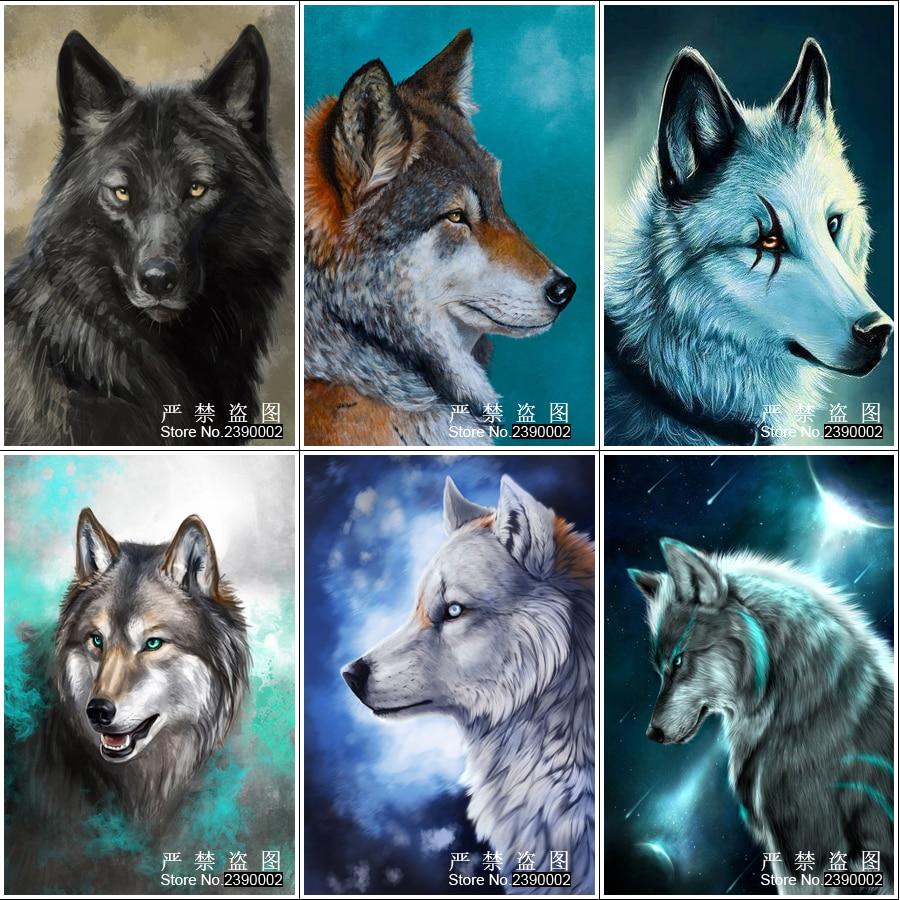 Diy 5d diamante mosaico animal lobo pintura hecha a mano del diamante - Artes, artesanía y costura