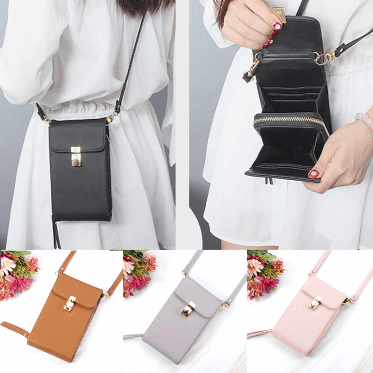 New Fashion PU Leather Phone Women Wallet Shoulder Bag Coin Card Holder Purse Solid Color High capacity Lock student Wallet