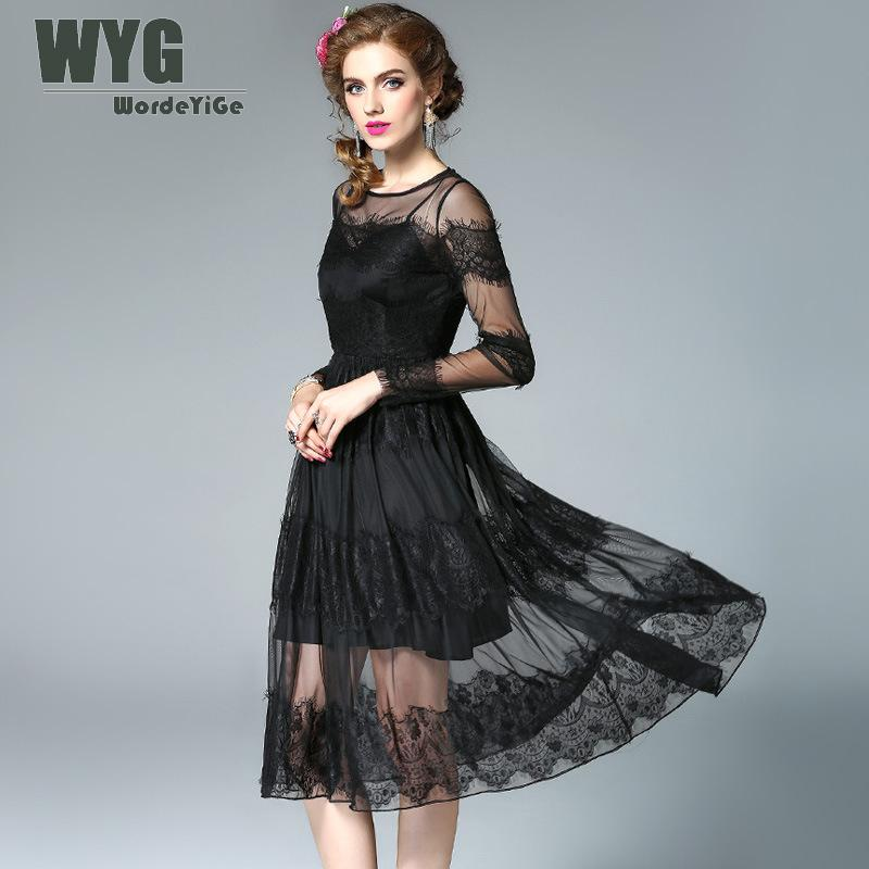 b92c08622e0 High-Quality-Sexy-Black-Lace-Dress-2017-Autumn-See-Through-Mesh-Patchwork -Gathering-Hem-Swing-Midi.jpg