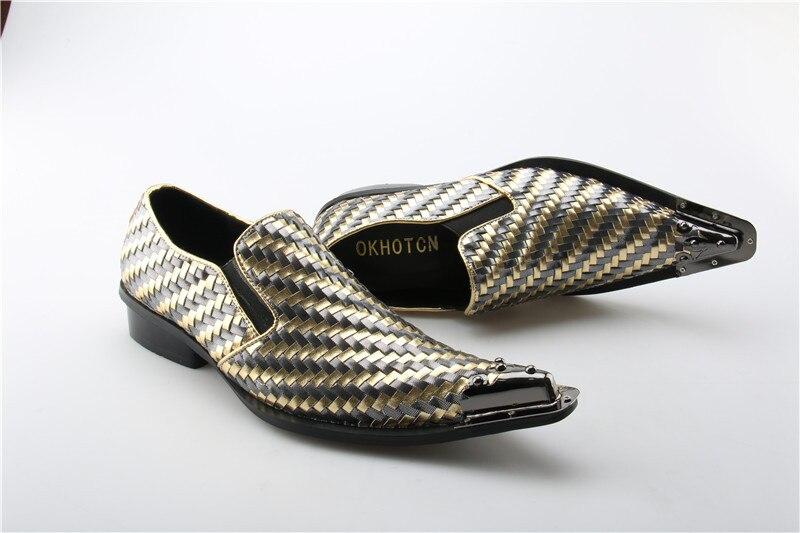 Estrecha Caballero Auténtico Mocasines Hombres Metal As Homme Vestir Chaussure Marca Zapatos Show Partido Punta Cuero Lujo Guinga Diseño wCxgIqIz5n