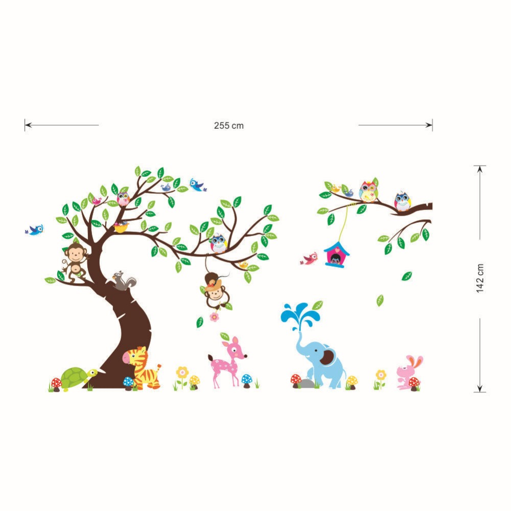 High Class Monkey Tree Wall Stickers Cartoon Decals Jungle Animals - Wall decals jungle
