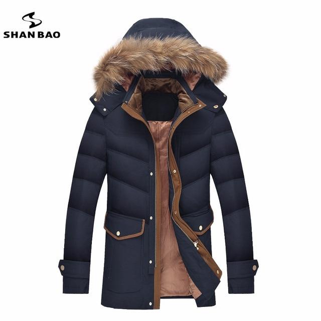 Chaqueta de los hombres de lujo de alta calidad cuello de piel de mapache 90% de pato blanco abajo espesor invierno cálido casual parka abrigo orange