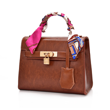 Bag with silk scarf Women 2019 pu leather portable lock big messenger bag Ladies crossbody shoulder bag Female handbag