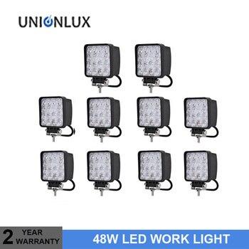 10pcs 48W 4 inch LED Work Light Spot Flood Driving Lamp for Car Truck Trailer SUV Offroads Boat 12V 24V 4WD