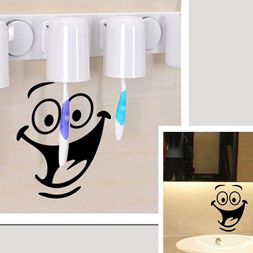 Smiley face wc toilet decal room art decor funny bathroom kitchen wall sticker in wall stickers - Decor wc ...