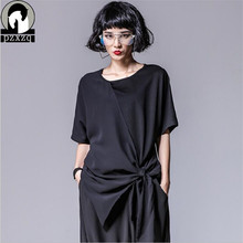 PZXZQ Summer Short Sleeve Chiffon Modal Bow Tie T-shirt Tops T Shirt Irregular Design