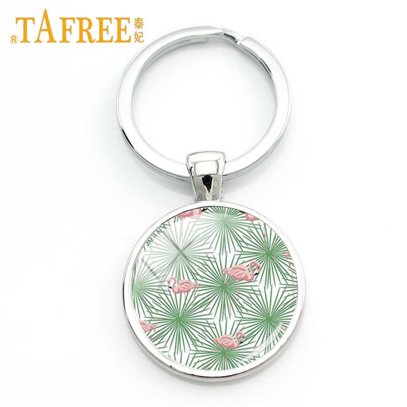 Tafree charme moda flor & plantas arte imagem chaveiro cactus verde porta-chaves cúpula de vidro feminino requintado chaveiro jóias zy164