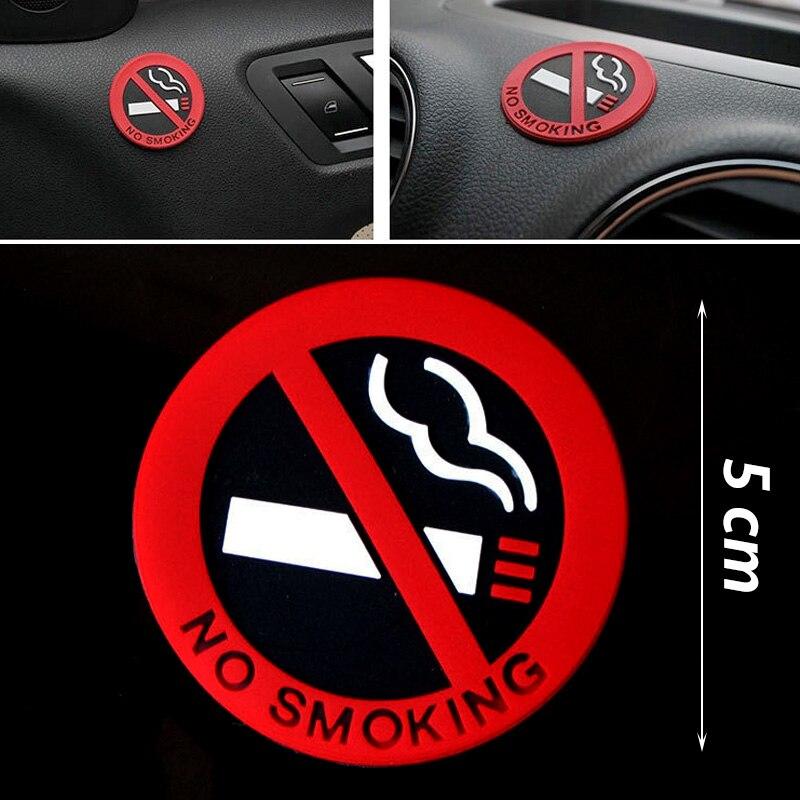 5 sztuk Car styling zakaz palenia logo ostrzegawcze naklejki gumowe naklejki samochodowe (okrągłe)