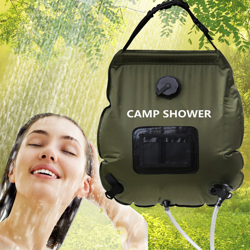 20L tas Air Berkemah Ultralight Shower Bag PVC Lipat Portabel Surya Luar Pop Up Pantai Ca dengan termometer