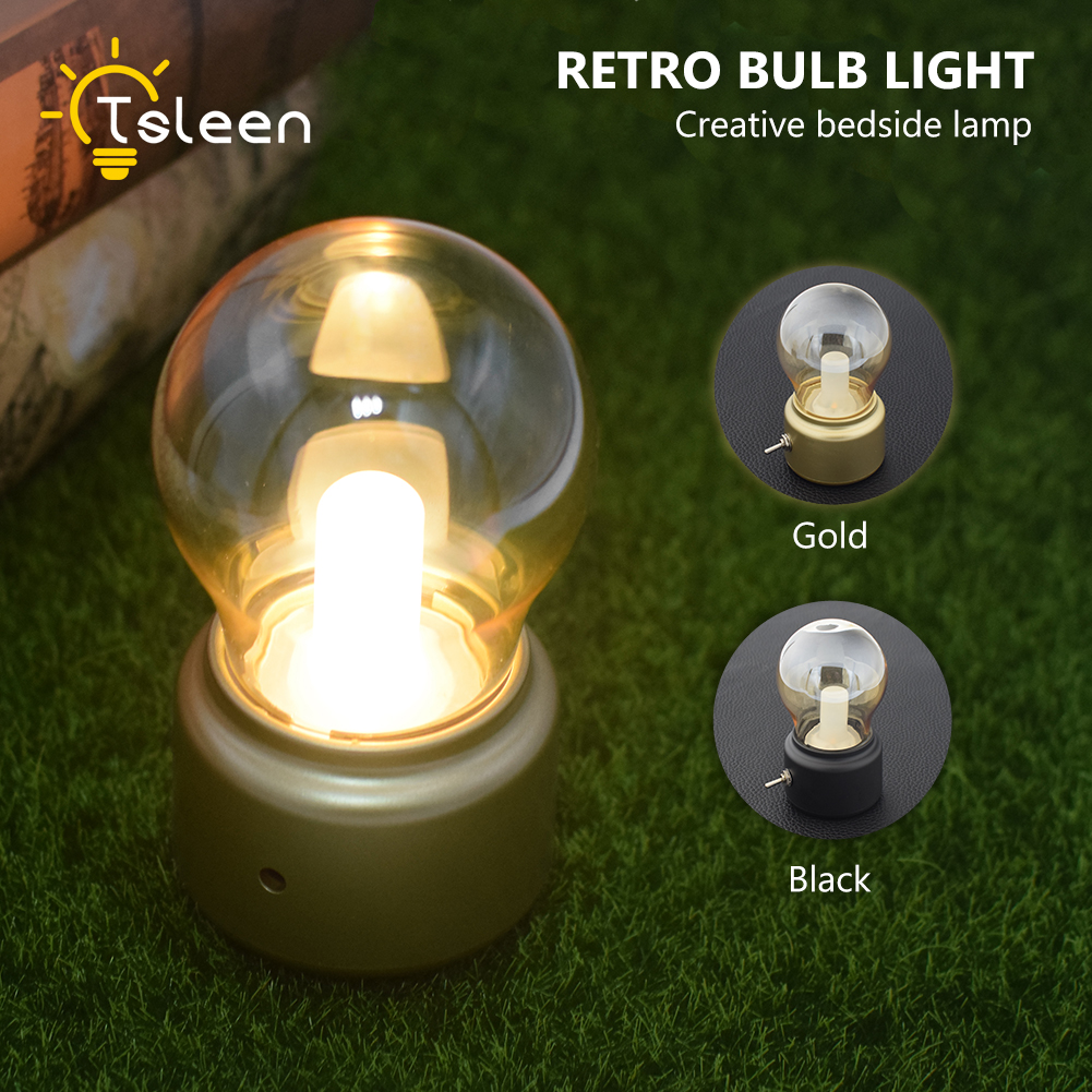 New Product Novel England Style USB Rechargeable Retro Night Light Bulb Include Battery Bedside Desk Atmosphere LED Lamp