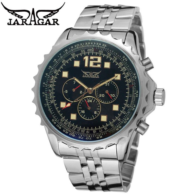 Original JARAGAR Luxury Montre Homme Watch Men's 6 Hands Day/Week/24H Auto Mechanical Watches Wristwatch Free Ship fosining luxury montre homme watch men s auto mechanical moonpahse genuine leather strap watches wristwatch free ship