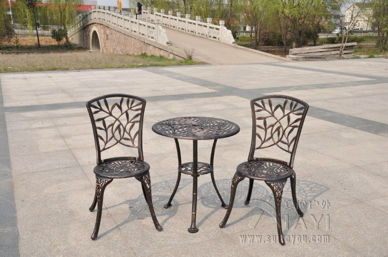 Charming Outdoor Patio Garden Bistro Set Furniture 3PCS Bamboo Leaves Design Cast  Aluminum Porch Balcony Cafe Table Chairs Set