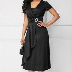 Plus Size kobiet krótki rękaw, dekolt V zmarszczek diamenty zdobione Midi Sukienka elegancka pani urząd sukienki Sukienka zielona Sukienka 5XL 2