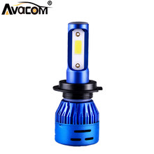 1 Pcs LED H4 HS1 Motorcycle Headlight Bulb 12V 4300K 6500K COB Chip 4000Lm 36W Super Bright Phare Moto Lamp H1 H7 H11 Moto(China)