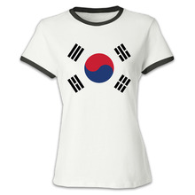Womenu0027s South Korea Flag Short Sleeve Baseball T Shirt Design Cool T Shirt  For Woman