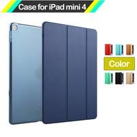 2016 Smart Case Cover For IPad Mini4 Fashion Ultra Slim Magnetic Leather Case PC Transparent Back