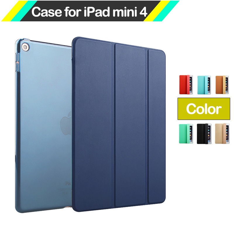 2016 Smart Case Cover For IPad Mini4 Fashion Ultra Slim Magnetic Leather Case PC Transparent Back