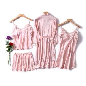 Image 2 - JULYS SONG Frauen Faux Silk Dressing Kleid 4 Stück Sexy Pyjamas Set Spitze Sling Shorts Sommer Robe Nachtwäsche