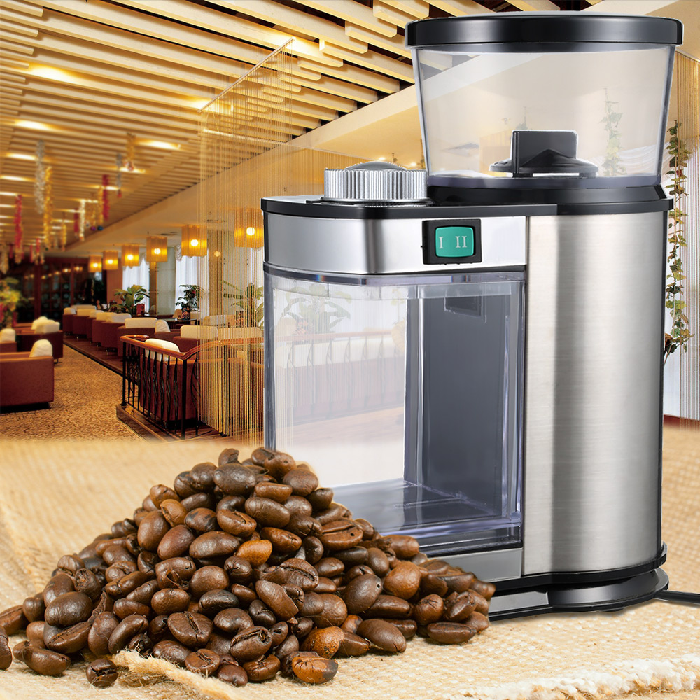 Coffee Grinder Electric Bean Grinding Machine 220-240V Home Bean Coffee Grinding Stainless Steel Machine Adjustable Thickness