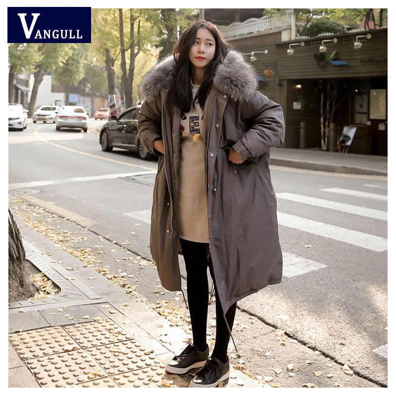 Women Fur Collar Coat 2016 New Fashion  Winter Woman Solid Warm-Thick Jacket Down Cotton Parkas Female Plus Size Casual Outwear women winter coat leisure big yards hooded fur collar jacket thick warm cotton parkas new style female students overcoat ok238