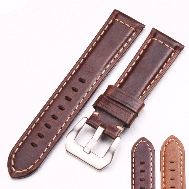 Handmade Retro Genuine Leather Watchbands Strap 22mm 24mm Dark Brown Watch Band Belt With Silver Stainless Steel Buckles For PAN amumu guitar strap sbr memory foam plus rubber band belt with genuine leather ends 110 130cm s529