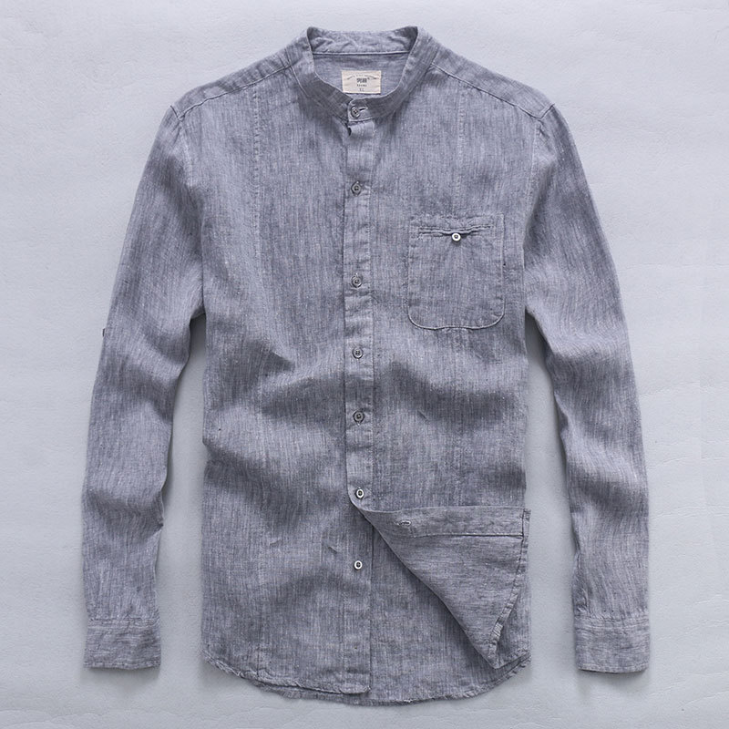 Spring Summer Men Shirt Linen Fashion Designer Flax Shirt