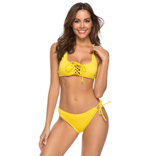 Classical Yellow Solid Off Shoulder Swimming Suit For Women Bandage Cross Low Waist Bikini Adjustable Strap Bathing Lady