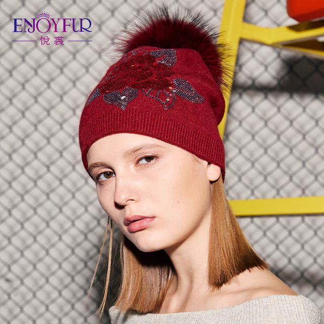 539669b4 קנו נשים ' s כובעים | ENJOYFUR Floral Sequins Embroidery Winter Hats ...