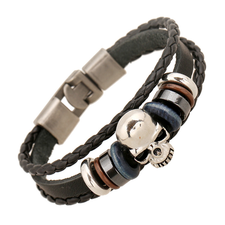 Zinc Alloy Skull Charm Unisex Bracelets Braided Leather Bracelet Buckle Genuine Leather Bangles Punk Style Handmade Bileklik