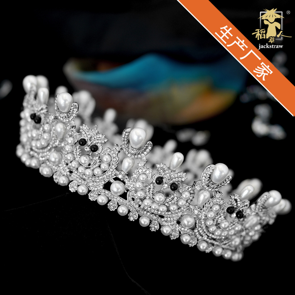 La famille royale mariée fait à la main de luxe micro-incrusté tout zircon adulte princesse blanc couronne fleur robe de mariée.