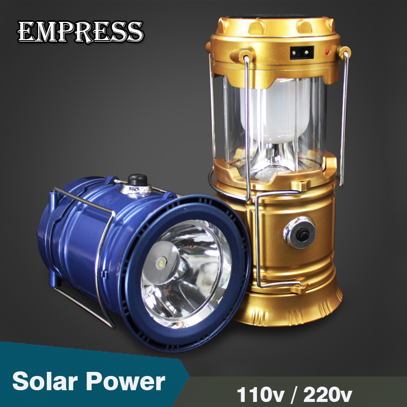Led Solar Light Outdoor Rechargeable Led Camping EU Plug Portable Ssearchlight Led Collapsible Flashlights Hanging Lamp lighting