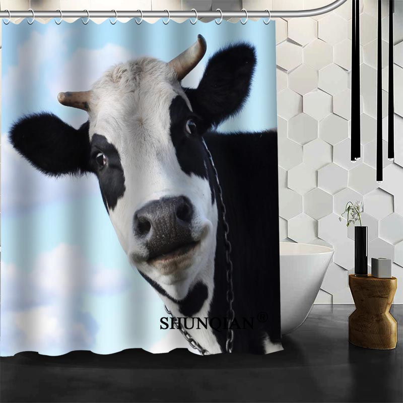 Waterproof Bathroom Curtains Modern COW Shower Curtain Polyester Bath Screens Customized In From Home Garden On Aliexpress