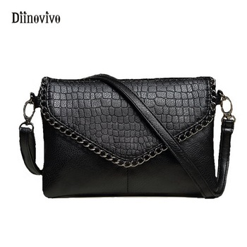 DIINOVIVO брендовая Сумка-конверт женские Сумки из искусственной кожи сумка на плечо с цепочкой маленькая сумочка в стиле панк Дамская сумка че...