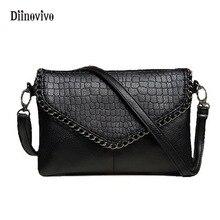 DIINOVIVO Brand Envelope Bag Women PU Leather Handbags Chain Shoulder Small Punk Handbag Purse Ladies Crossbody WHDV0048