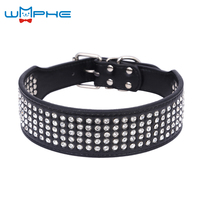 PU Leather Large Size Dog Collar Drilling Of Four Water Bling Big Dog Collars Rhinestones L